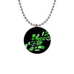 Green decorative abstraction Button Necklaces