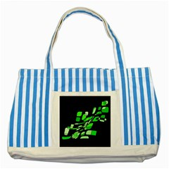 Green decorative abstraction Striped Blue Tote Bag