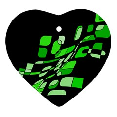 Green decorative abstraction Heart Ornament (2 Sides)