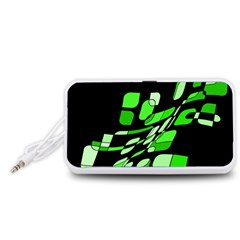 Green decorative abstraction Portable Speaker (White)