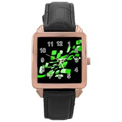 Green decorative abstraction Rose Gold Leather Watch
