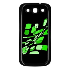 Green decorative abstraction Samsung Galaxy S3 Back Case (Black)