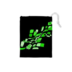 Green decorative abstraction Drawstring Pouches (Small)