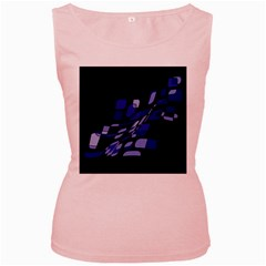Blue abstraction Women s Pink Tank Top