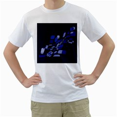 Blue abstraction Men s T-Shirt (White) (Two Sided)