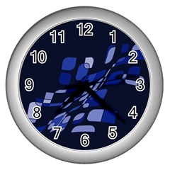 Blue abstraction Wall Clocks (Silver)