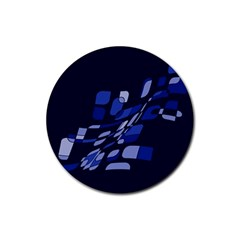 Blue abstraction Rubber Round Coaster (4 pack)