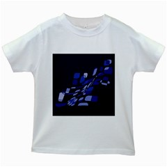 Blue abstraction Kids White T-Shirts