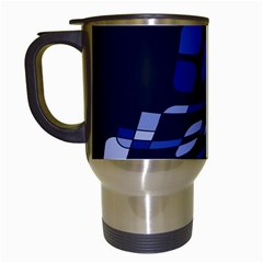 Blue abstraction Travel Mugs (White)