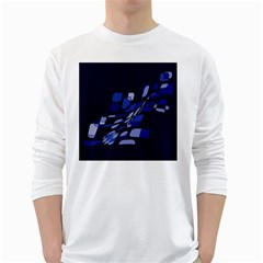 Blue abstraction White Long Sleeve T-Shirts