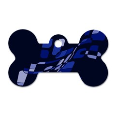 Blue abstraction Dog Tag Bone (Two Sides)