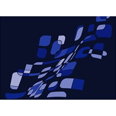 Blue abstraction Birthday Cake 3D Greeting Card (7x5)