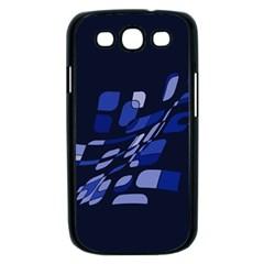 Blue abstraction Samsung Galaxy S III Case (Black)