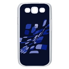 Blue abstraction Samsung Galaxy S III Case (White)