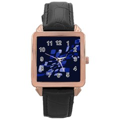 Blue abstraction Rose Gold Leather Watch