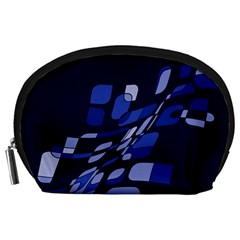 Blue abstraction Accessory Pouches (Large)
