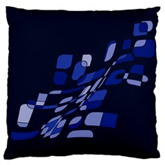 Blue abstraction Large Flano Cushion Case (One Side)