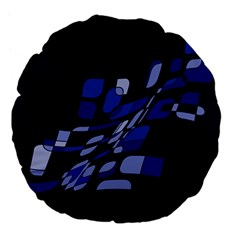 Blue abstraction Large 18  Premium Flano Round Cushions