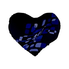Blue abstraction Standard 16  Premium Flano Heart Shape Cushions