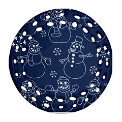 Winter Snowman Pattern Round Filigree Ornament (2Side)