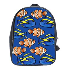 Blue Tang And Clownfish Tropical Ocean  School Bags(large)