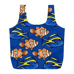 Blue Tang And Clownfish Tropical Ocean  Full Print Recycle Bags (L)