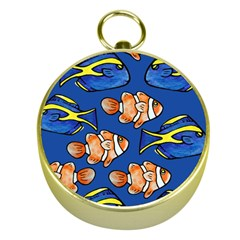 Blue Tang And Clownfish Tropical Ocean  Gold Compasses