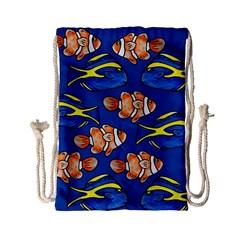 Blue Tang And Clownfish Tropical Ocean  Drawstring Bag (Small)