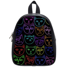 Retro Rainbow Cats  School Bags (Small)