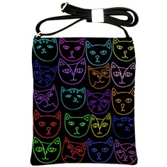 Retro Rainbow Cats  Shoulder Sling Bags