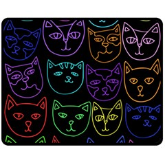 Retro Rainbow Cats  Double Sided Fleece Blanket (Medium)
