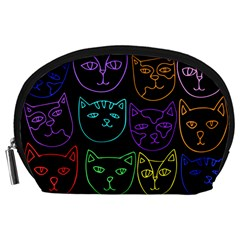 Retro Rainbow Cats  Accessory Pouches (large)