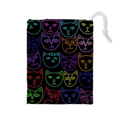 Retro Rainbow Cats  Drawstring Pouches (large)