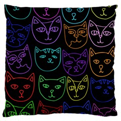 Retro Rainbow Cats  Large Flano Cushion Case (Two Sides)