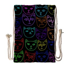 Retro Rainbow Cats  Drawstring Bag (Large)