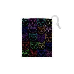 Retro Rainbow Cats  Drawstring Pouches (XS)
