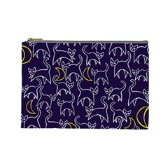 Cat And Moons For Halloween  Cosmetic Bag (large)