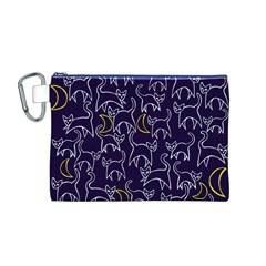 Cat And Moons For Halloween  Canvas Cosmetic Bag (M)