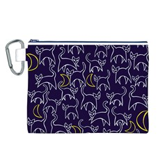 Cat And Moons For Halloween  Canvas Cosmetic Bag (l)