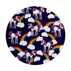 Retro Rainbows And Unicorns Round Ornament (Two Sides)