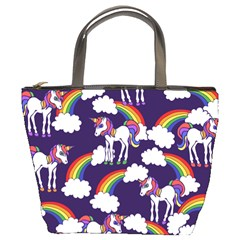 Retro Rainbows And Unicorns Bucket Bags