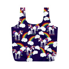 Retro Rainbows And Unicorns Full Print Recycle Bags (M)