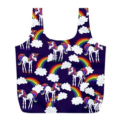 Retro Rainbows And Unicorns Full Print Recycle Bags (L)