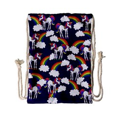Retro Rainbows And Unicorns Drawstring Bag (Small)