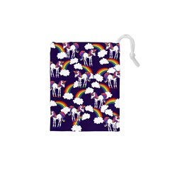 Retro Rainbows And Unicorns Drawstring Pouches (xs)
