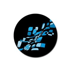 Blue abstraction Rubber Coaster (Round)