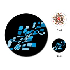 Blue abstraction Playing Cards (Round)