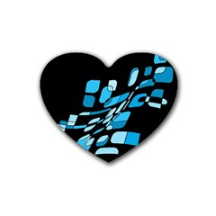 Blue abstraction Rubber Coaster (Heart)