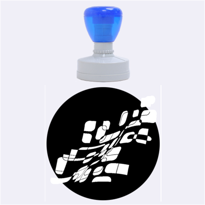 Blue abstraction Rubber Round Stamps (Large)