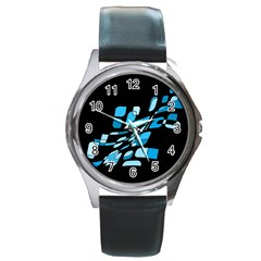 Blue abstraction Round Metal Watch